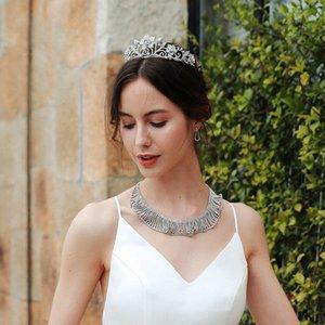 mariée européenne et American Palace, couronne baroque reine Rose Rose Accessoires robe de mariée couronne en alliage accessoires Ama8 #