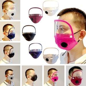 Máscaras válvula desmontable para adultos de algodón a prueba de polvo Máscara Boca Cara Con la ventana clara Shield visible del ojo sólidos máscaras anti-polvo 200pcs T1I2220