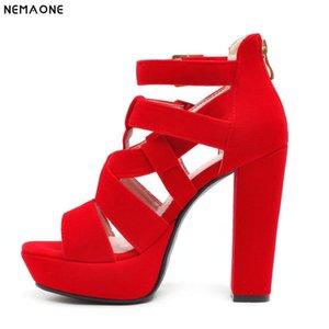 NEMAONE 12cm sandalias de tacón zapatos de mujer atractiva del separador zapatos de tacón grueso del partido del verano sandalias de la plataforma de las señoras