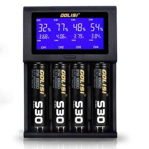 GOLISI i4 Smart Charger 18650 26650 20700 Batteria schermo LCD Display USB 4 slot di ricarica 2A veloce intelligente del caricatore libera il trasporto