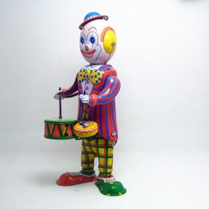 Freeshipping coleção retro clássico Clockwork Wind up metal Walking Tin Toy Drumming Clown o baterista robô mecânico brinquedos crianças presente
