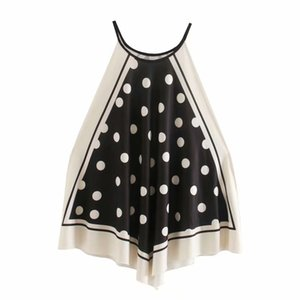 2020 New Women vintage polka dot print halter sexy chic camis tank ladies summer hang on neck patchwork knitted vest tops LS6496 CX200713