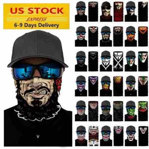 Expédiez de US cosplay vélo ski crâne moitié visage Couvre Halloween masque fantôme écharpe Bandanas cou Parti Warmer serre-tête magique Turban FY7140