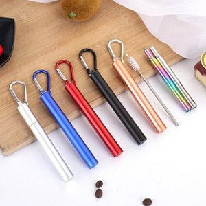 US STOCK Portable Reusable Folding Drinking Straws Stainless Steel Metal Telescopic Straws with Aluminum Case & Cleaning Brush FY4144