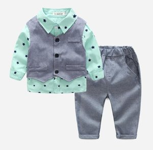 Boys' Autumn suit 2020 new British style children's Cross Border Long Sleeve Shirt children's gentleman vest three piece set