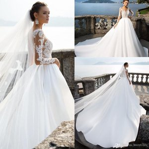 2021 Milla Nova Long Sleeves Wedding Dresses Sheer Neck Lace Appliqued Beads Ball Gown Court Train Bridal Gowns