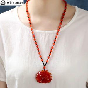 Wishspace restoring ancient ways is popular lotus pendant drop necklace fashion women sweater chain wholesale