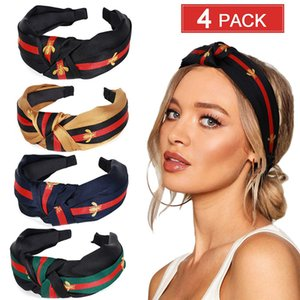 Fashion Lady hairbands Bee hair hoop wide edge fabric classic knot hair hoop Head Hoop Top Knot Hairband for girls in summer FGQY047