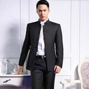 Atacado-Custom Made ternos homens noivo moda terno smoking mandarin preto ocasiões de casamento colar de negócios formal ternos (camisa + calças Ipo9 #