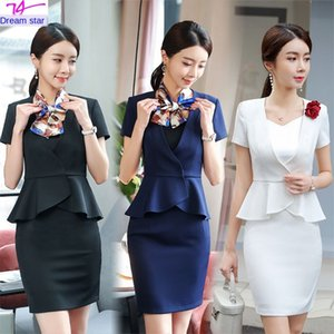 Business suit female short-sleeved suit fashion temperament goddess fan ol dress Beauty and beauty jewelry store beautician