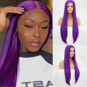 Fashion Silky Straight Long Purple Wig Glueless Synthetic Lace Front Wig Heat Resistant Fiber Cosplay Wigs For Black Women