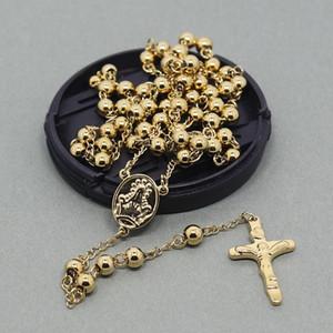 6mm katholischen Rosenkranz-Ketten-Halskette Kreuz-Edelstahl-Halskette Männer Schmuck oder lange Halskette Frauen für Weihnachtsgeschenk