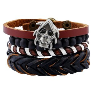 2020 Hot sale Men's genuine leather bracelet DIY PU Alloy skull braid beads Bracelet Combination suit Bracelet 4styles 1set