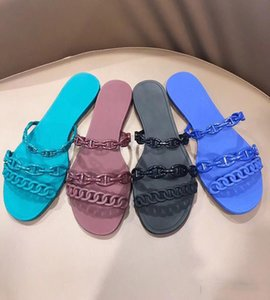 New woman Designer woman shoes chain design slippers sandals pvc jelly slides Chaine d'Ancre High Quality Beach Flip Flops