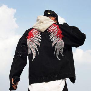 National and Embroidered jeans wings embroidered denim jacket men's hip-hop fashion men's jeans jacket ins fashion JK41