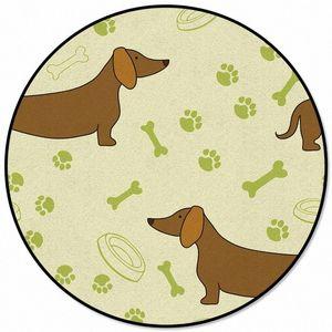Мультфильм собака шаблон шаблон ковры и ковровые покрытия Для дома Гостиная Круглый Ковер для детей Номера Слип Mohawk Ковровые Цены Гулистан mPI5 #