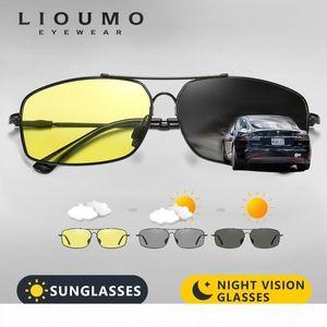 Y 2020 Fashion Memory Metal Sunglasses Men Polarized Photochromic Day Night Driving Glasses Women Discoloration Lens Lentes De Sol T200