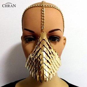 Chran Chainmail Mask Bra Scalemail Shoulder Armor Cosplay Burning Man Headdress Head Chain Headband Medieval Ren Faire Jewelry