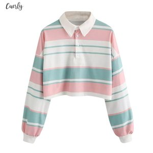 Autumn 2020 Sweatshirts Women Crop Tops Striped Long Sleeve Turn Down Long Sleeve Collartops And Blouses Harajuku Kawaii Sweatshirts