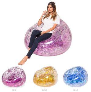 Forma-nova lantejoulas infláveis sofá cadeira pvc paillette ar colchão inflável piscina de água flutua praia espreguiçadeira adultos brinquedos infantis