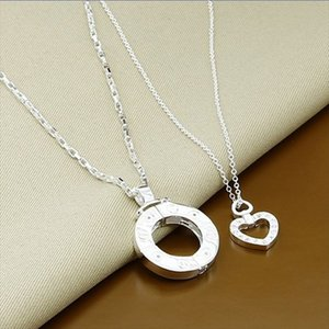 Silver Lovers' Jewelry Set 925 Sterling Silver Jewelry Heart Round Necklace Set Women Men Couple Gifts