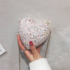 chain female 2019 new Korean style small Sequins small bag girl cute heart personality sequins chic messenger bag fashion