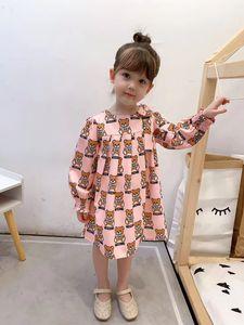 Girls cut bear letter printed dress children Bows elastic long sleeve dress 2020 Fall new kids designer clothes A3551