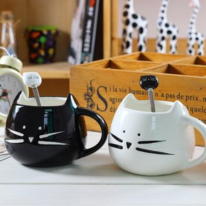 Ceramic Cute Cat Mugs With Spoon Coffee Milk Animal Cups With Handle 400ml Drinkware Nice Gifts