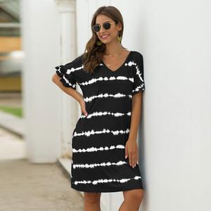 Summer Loose Above Knee, Mini Short V-neck Striped Streetwear Natural Regular Polyester,cotton Msfilia