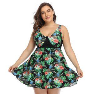 2020 New Arrival Two Piece Swimsuit Women Retro Print Swimwear Strap Dress Green Black Tankini Skirt Beach Bathing Suit Plus Size 5XL