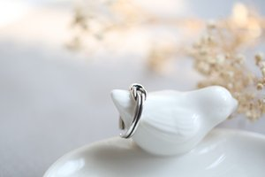 S925 Sterling Silver Double-Line Knot Concentric Knotted Old Ring Simple and All-match Day Korean Ring Opening Anti-Allergy Female