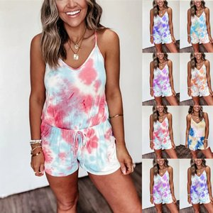 Women Designer Jumpsuits Sexy Deep V-neck Tie-dyed Printed Sling Short-sleeved Button Shorts Rompers Pants LK123