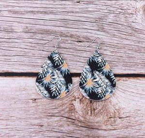 2020 весна лето мода кокосовой пальмы Цветочные печати Pu кожа Teardrop серьги для ювелирных изделий женщин пляжной моды