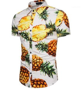 Beach Shirt Tops Male Clothing Mens Pineapple Print Designer Shirts Fashion Casual Short Sleeve Polos Summer