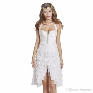 Victorian Halloween Dancing Parties Wedding Bridal Bridesmaid Halterneck Vintage Formal Corset Dress with Layered Frills and Front Cups