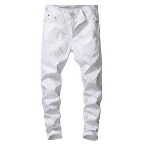 Sokotoo Männer Silber Schlangenhaut gedruckten weißen Jeans Fashion dünne Denimhosen fit Stretch