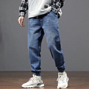 Японский стиль Мода Мужские джинсы Сыпучие Fit черный серый цвет Denim штанах Гарем Брюки Streetwear Hip Hop Jogger джинсы Мужчины