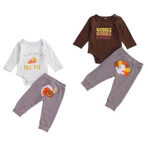 Nueva niña ropa de niño bordado Turquía Imprimir Pantalones Trajes 2Pcs Top Romper rayó el Festival de Acción de Gracias Clothings