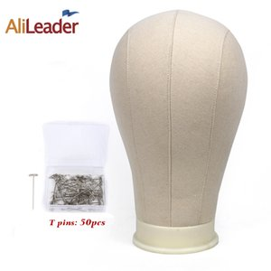 "Alileader 21"" 22"" 23"" 24"" 25"" Beige Canvas Block Head Training Mannequin Head For Wigs Making Display and 50Pcs T Needles CX200716"
