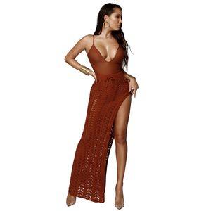 Fashion Women Skirts Sexy Cutout Knee-length Skirt Summer Sexy Split Fork Beach Dress Hollow Out Knitting Skirts Size S-XL