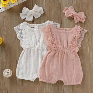 Summer Baby Girl Rompers Newborn Baby Clothes Toddler Flare Sleeve Solid Lace Design Romper Jumpsuit with Headband One-Piece