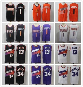 Vintage Mens PhoenixnbaSunsThrowback Ville Steve Nash 13 Charles Barkley Devin 34 1 Booker Basketball Maillots Cousu Stock