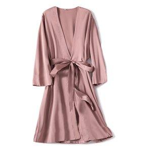 Robe de satén femenino íntimo lencería ropa de dormir sedoso nupcial regalo de boda casual kimono albornoz vestido camisón sexy ropa de dormir JXDHN