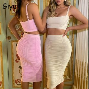 Giyu Sexy Club Party 2 Piece Set Women 2020 Summer Elegant Bodycon Two Piece Set Sleeveless Backless Ruch Skirt Tracksuit