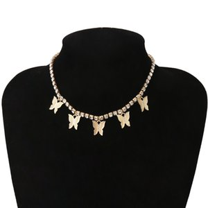 CZ Tennis Chain CZ Collarbone Charm Necklace Simple Diamond Butterfly Choker Necklace Iced Out Bling Women Jewelry Party Gift .