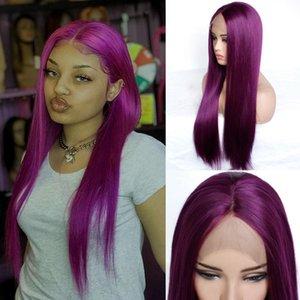 Kadınlar Tam Peruk için% 150 Yoğunluk Mor Düz Saç Peruk Tutkalsız Doğal Satine Renkli Uzun Düz Saç Sentetik Dantel Açık Peruk