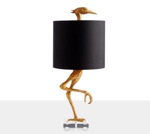 postmodern  resin Golden chicken table lamp for living room bedroom fabric art deco desk standing light led luminaire MYY