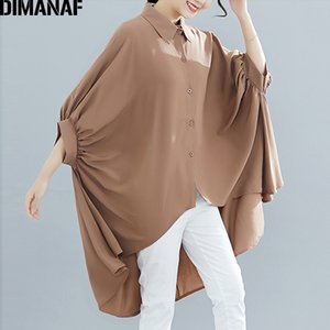 DIMANAF Plus Size Women Blouse Shirts Big Size Summer Lady Tops Tunic Solid Loose Casual Batwing Female Clothes 5XL 6XL 2019 New Y200622