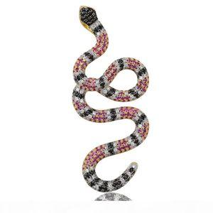 E Jinao New Hip Hop or Collier serpent coloré pendentif Micro Pave Zircon Glacé Bijoux Homme Animal Femmes Coffret Cadeau