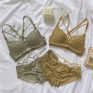 Sexy Hollow Backless Bra Lace Embroidery Lingerie Set Cotton Cup Underwear Winter Wire-Free Comfortable Women Push Up Bra Set Y200708
